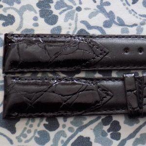 Hadley Roma Crocodile Calf Black Watch Band 18MM